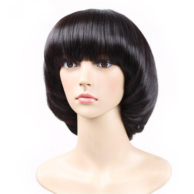 Fashion Womenlady Brilliant Black Mushroom Haircut With Neat Bangs