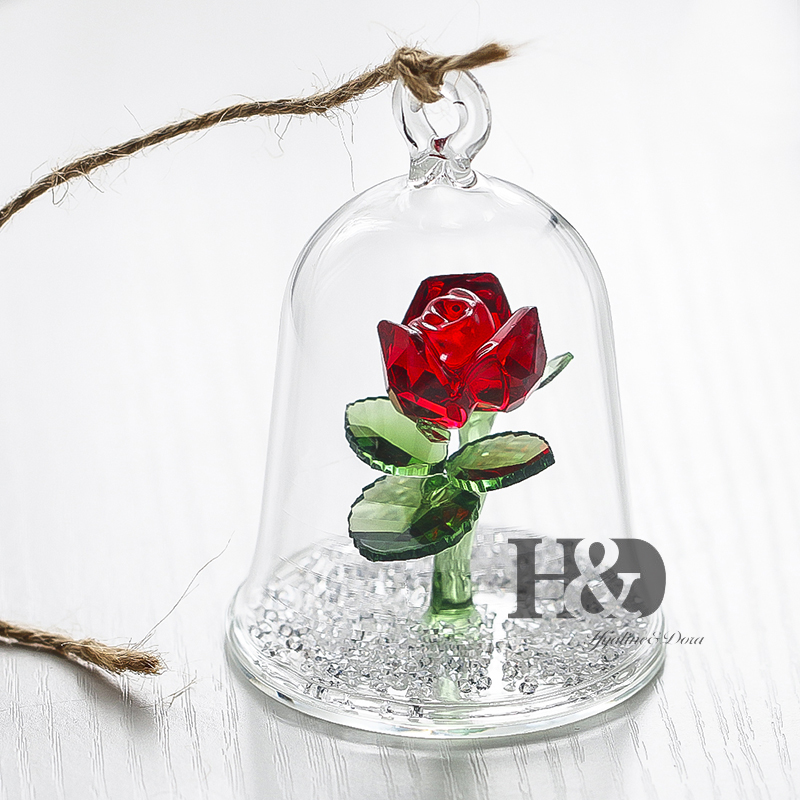 H&D 50pcs Lover Gift Crystal Beauty And The Beast Enchanted Red Rose Glass Sculpture in Glass Dome Flower Figurine Home Ornament