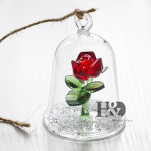 H&D Lover's Gift Crystal Beauty And The Beast Enchanted Red Rose Glass Sculpture in Glass Dome Flower Figurine Home Ornament