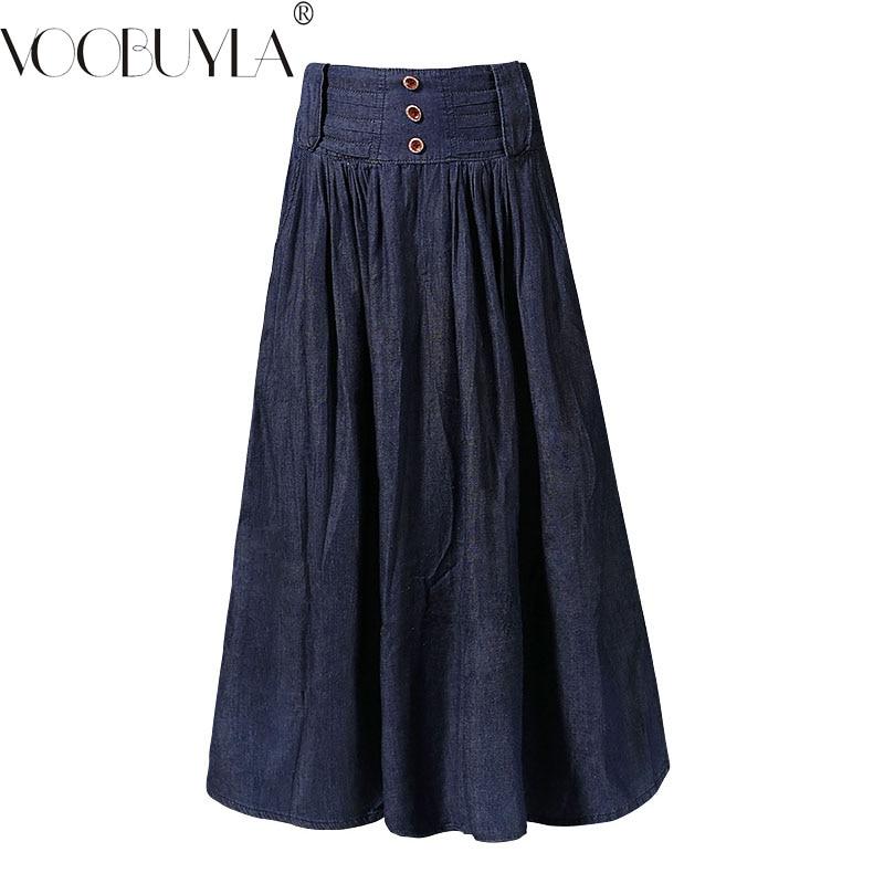 Voobuyla High Waist Long Denim Skirts Women Jeans Skirt 2018 New Summer Autumn Pleated Maxi Skirts Casual Vintage Skirts Mujer