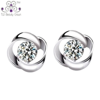 Authentic 925 Sterling Silver Cute White Crystal Twisted Flower Stud Earrings For Women Girls Fashion Korean