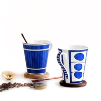Drinkware Mug 350ml Fan Art Classic Elegant Blue White Bone China Ceramic Mug Coffee Cup W