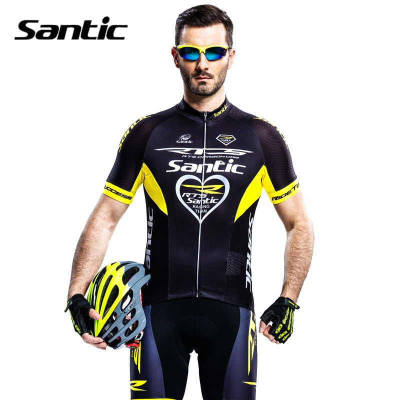 ФОТО Santic Short Sleeve Cycling Jersey with Bib Shorts Pad Sets RTS Team Pro Fit Wear Outdoor Sports Bike Clothes Sets MCT031Y