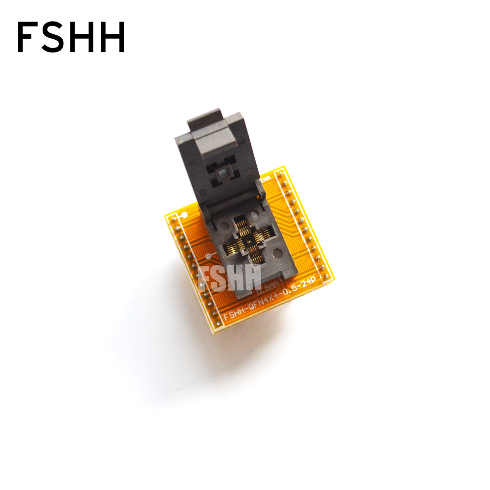 FSHH QFN24 to DIP24 Programmer adapter DFN24 WSON24 MLF24 test socket Size=4mmX4mm Pitch=0.5mm fshh qfn18 to dip18 programmer adapter wson18 udfn18 mlf18 ic test socket size 3 6mmx3 6mm pin pitch 0 5mm