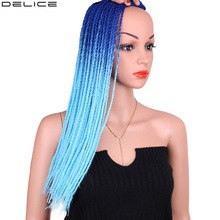 Delice Womens Senegalese Twist Crochet Braids Two Colors Ombre Synthetic Long Braiding Hair Box Extensions 22