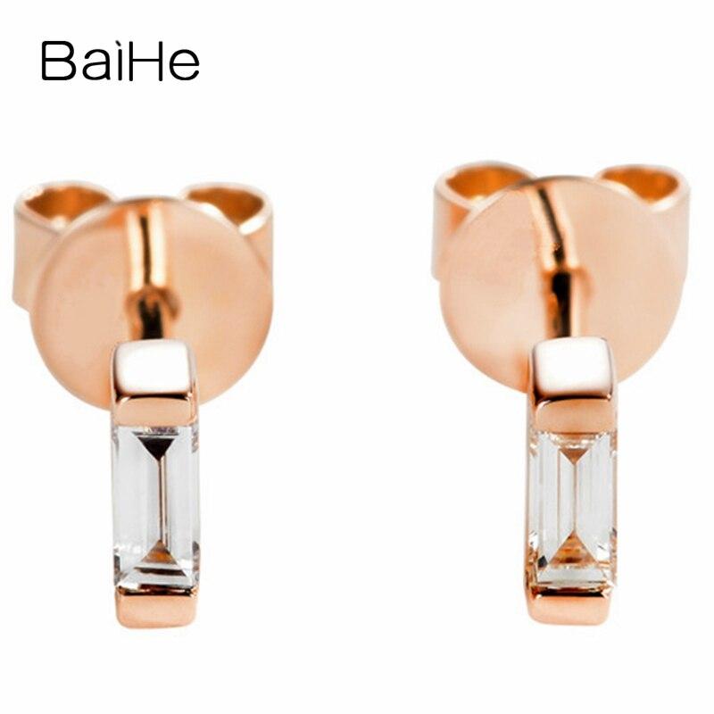 BAIHE solide 14K or Rose 0.12ct H/SI diamants naturels fiançailles à la mode Fine mode bijoux homme femmes cadeau boucles d'oreilles