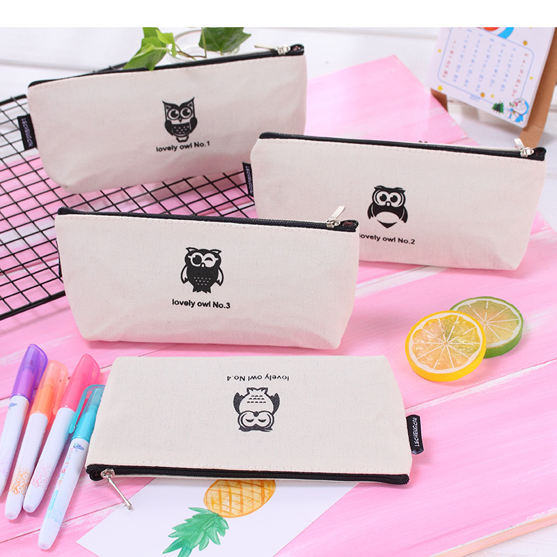 Cute Owl Pencil Case Kawaii Cartoon Canvas Student School Pen Box Office School Stationery
