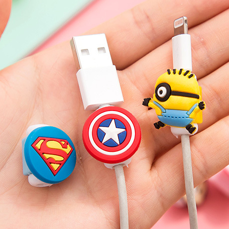 10pcs lot Cartoon USB Cable Earphone Protector headphones line saver For Mobile font b phone b