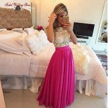 Vestido De Festa Longo Chiffon Lange Spitze Abendkleid Elegante 2015 Abendkleider Günstige New Prom Kleider Schnelles Verschiffen