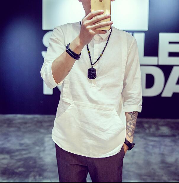 Manches D'été Chemise Courtes Grande S À Taille Garniture 6xl Blanc Et Coton Hommes Lin Shirts White Linge chemise 2018 Sept Ynf7Ux