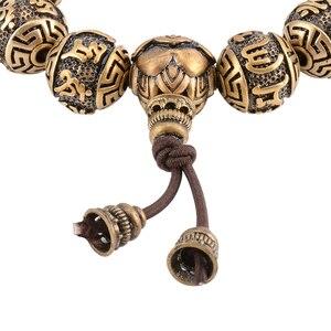 Image 4 - Металлический браслет с бусинами, мужской медный браслет с гравировкой, молитва Ом, тибетский буддизм, мала для медитации, Йога, браслет для женщин, Исцеляющие украшения