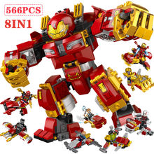 566pcs Super Heroes Marvel Avengers Infinity War Hulk Armor Building Blocks Iron Man Bricks Set Kids Toys Compatible with Legoed(China)