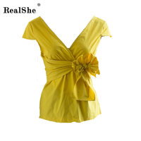 RealShe Women Shirts Summer V Neck Bandage Bow Women Camisas Femininas Casual Blusa Feminina Tops Fashion