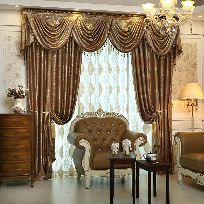 2016 On Sales Luxury Jacquard Ready Made Blackout Curtains For Living Room Drapes And Valances