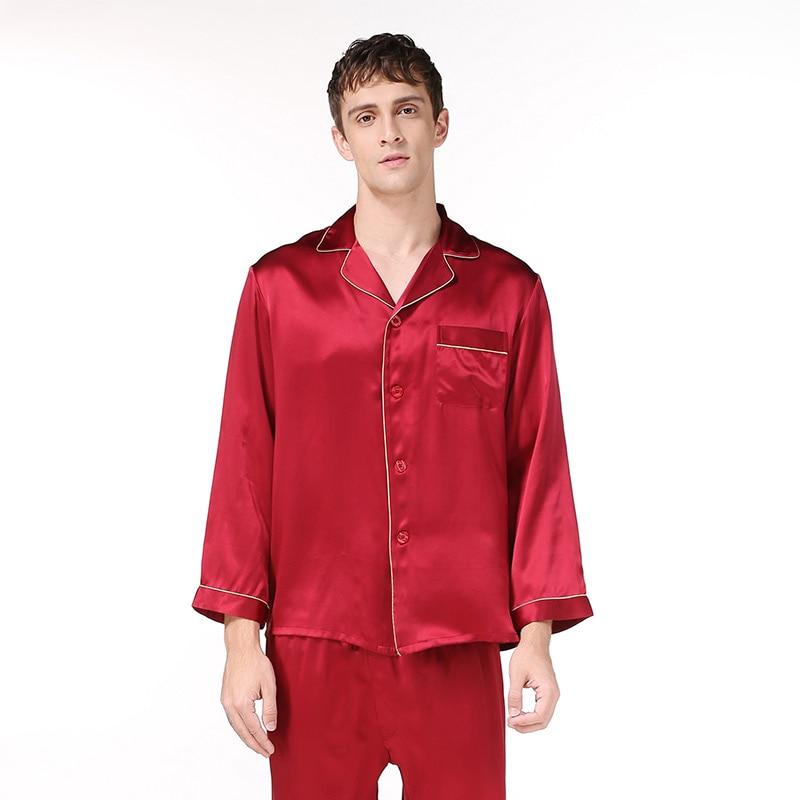 2XLmens Silk Pajama Sets Soild Color 100%  Silk 2019 Night Sleepwear Men's Pajama Sets Man  Silk Pajama Pants Stain Pajama Sets