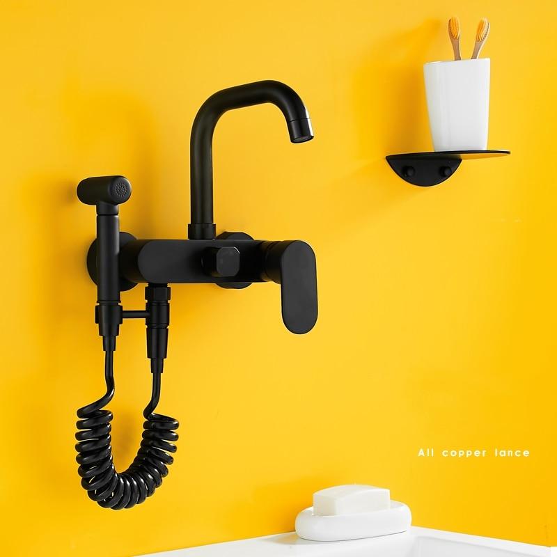 Black Bidets Bathroom Hand Shower Bidet Toilet Sprayer Hygienic Shower Bidet Tap Wall Mounted Bidet Faucets Shower Brass T956