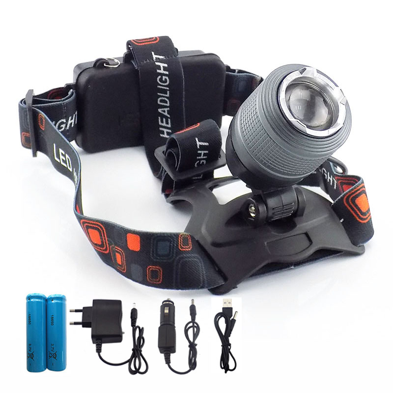 high powerful T6 headlamp Focus Headlamp headlight Led Head Light Lamp torch Zoom Frontal Flashlight 18650 battery AC charger useful convenient 3 models high low sos rotating focus led flashlight torch skid proof light lamp