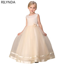 Girl Dress Wedding Ball Gown Formal Party Flower Dresses for Little Girls 2-14Years sleeveless