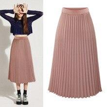 Модные длинные Для женщин Высокая Талия однотонная плиссированная эластичная юбка-трапеция женские вечерние Повседневное шифон Повседневное миди розовый Белая юбка