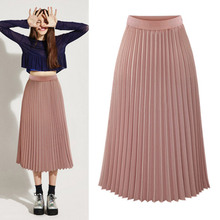 Fashion Long Women's High Waist Pleated Solid Color Elastic A-line Skirt Lady Party Casual Chiffon Casual Midi Pink White Skirt white solid color high neck high waist midi dresses