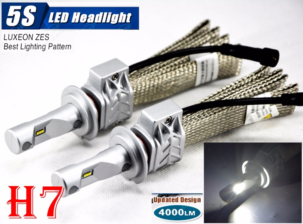 1 Set H7 50W 8000LM 5S LED Headlight Kit LUMILED LUXEON ZES 12SMD Chips Fanless 6500K Driving Fog Front Lamps Bulbs H4 H11 9005