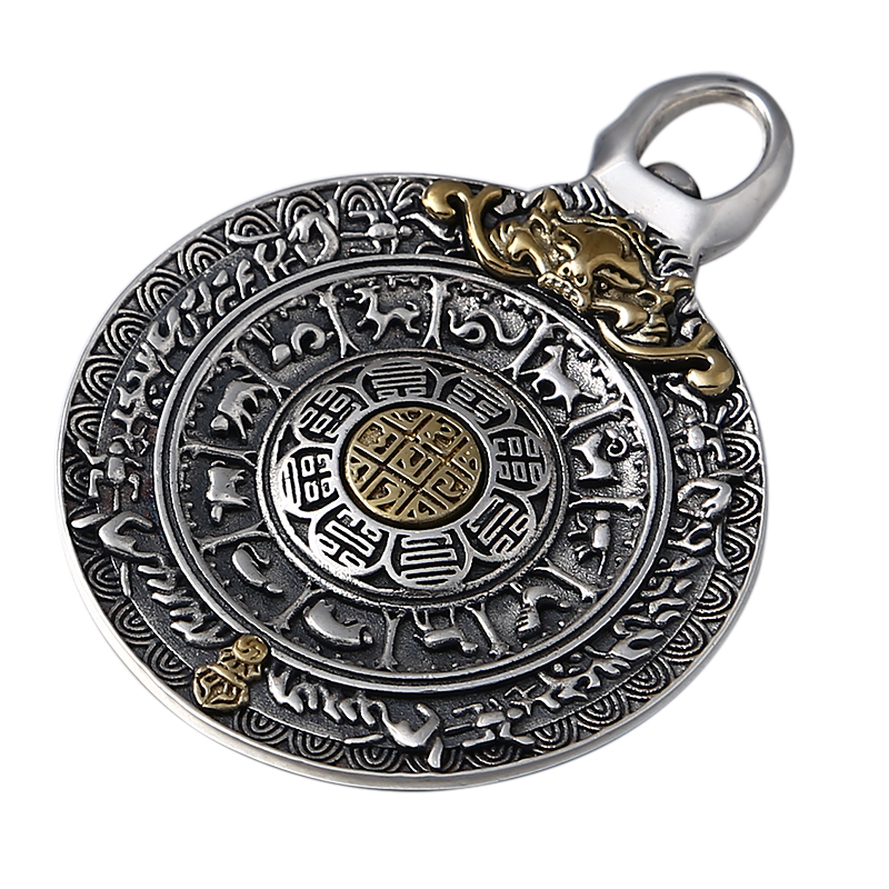 925 pendentif Vintage en argent sterling style chinois mythique anim sauvage pour hommes et femmes Jin Gangchu huit diagrammes pendentif