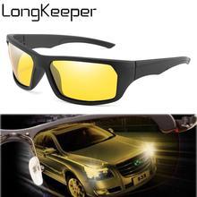 LongKeeper Night Vision Sunglasses Men Women Driving Yellow Lens Eyewear Male Driver Safety Goggles Gafas Oculos De Sol