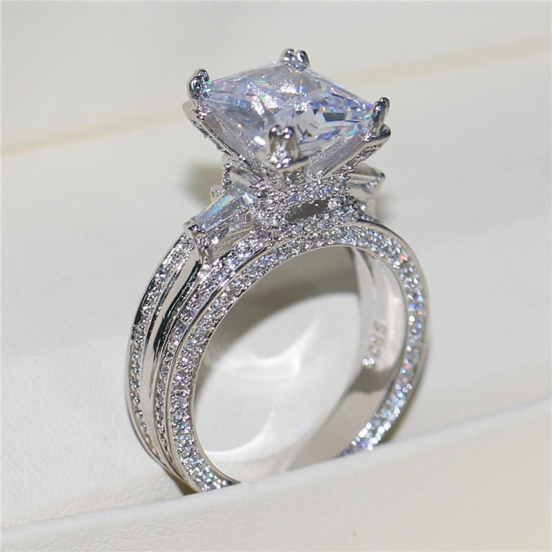 Bamos CZ Ring Alliance Zirconia Jewelry Women Engagement for Classic White Exquisite
