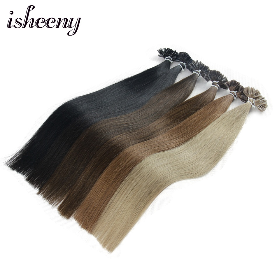 """Isheeny Straight Keratin Capsule Human Hair Fusion Nail U Tip 12"""" 14"""" 18"""" Remy Pre Bonded Extensions 12"""" 14"""" 18"""""""
