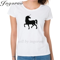 Ingoroo 2017 Summer Unicorn Hipster Funny Shirt Horse Summer Tops Bts Graphic Tshirt 3d Printer Casual