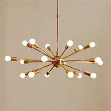 Vintage Brass Sputnik Chandelier Modern Light Pendant Lamp Hanging Living Room Home Deco Dinning Kitchen Fixture Luminaire