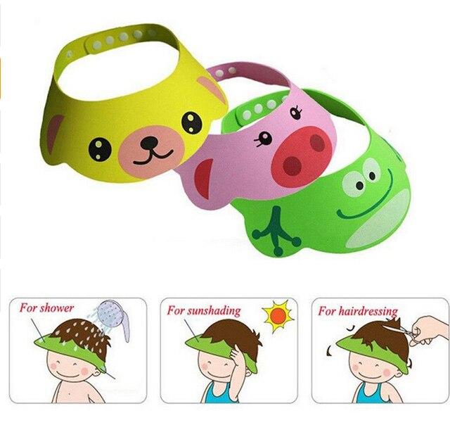 Bonito sombrero ajustable para bebé, champú para niños, gorro de ducha de baño, gorro para el cabello, gorras para el cuidado del bebé-15
