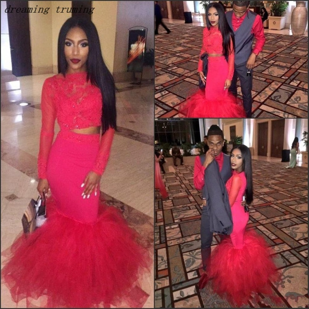 Fashion Two Pieces   Prom     Dresses   2019 Mermaid Red Puffy Ruffles Lace Appliques Long Evening Gowns Special Occasion   Dresses