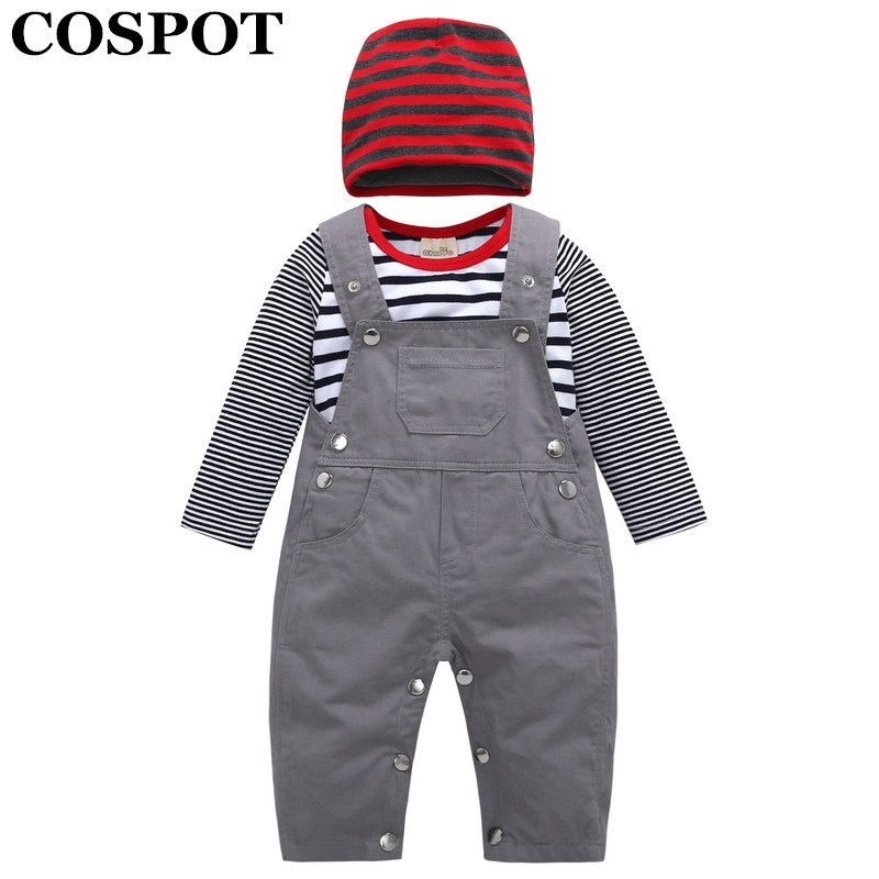 COSPOT 2018 New Newborn Clothing Set Cap+Bodysuit+Overalls Baby Girl Boy Spring Striped Clothes Jumpsuit Plain Gray Overalls 49