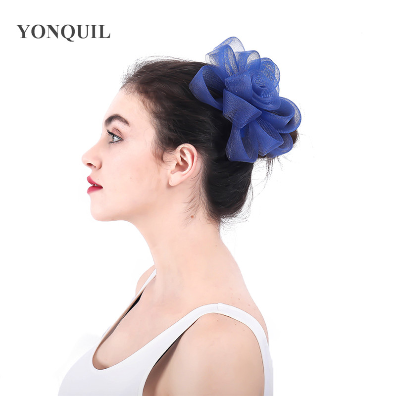 Royal Blue Crinoline Fascinators Hat Hair Accessories For Wedding Church Party Kentucky Derby Ascot Race 2018 New Arrival SYF357