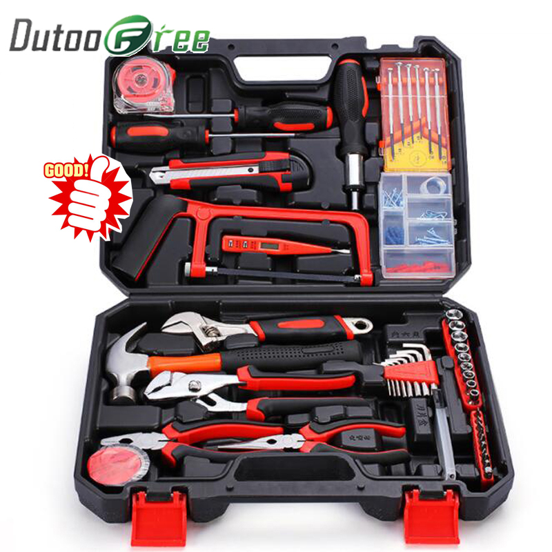 Home Repair Tools Set Screwdrivers Bits Set Pliers Sockets Spanner Wrench Saw Hammer Household Tool Kits Hand Tools Box
