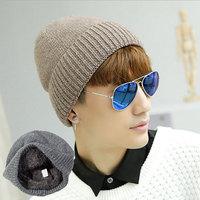 Men's Warm Hats Winter Knitted Beanies Hat Solid Thicken Fur Winter Hats For Men Wool Skullies Beanie balaclava WL-059