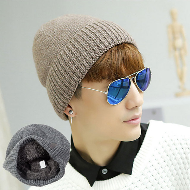 Men's Warm Hats Winter Knitted Beanies Hat Solid Thicken Fur Winter Hats For Men Wool Skullies Beanie balaclava WL-059