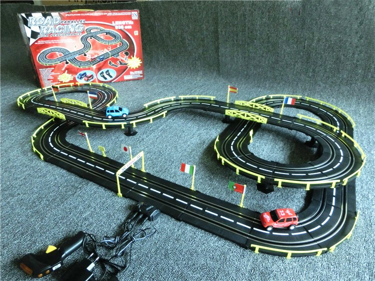 hot toys 636cm 1:43 Electric rail car track set double RC racing kids toys boys gift toys for children car-detector brinquedos