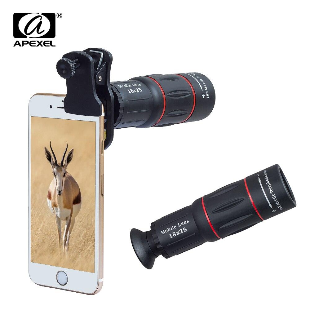 APEXEL Telefon 18X Telescópio telescópio Zoom Da Lente Da Câmera universal Lente Do Telefone Móvel para o iphone Xiaomi Smartphones APL-18XT