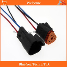 2 Pairs Deutsch DT06-3S and DT04-3P 3Pin Engine/Gearbox electrical connector with cable for car,bus,motor,truck etc.