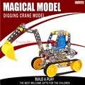 Envío libre Rompecabezas estéreo del coche monta el juguete ensamblado modelo de aleación de metal artículos de tapicería excavadora B136