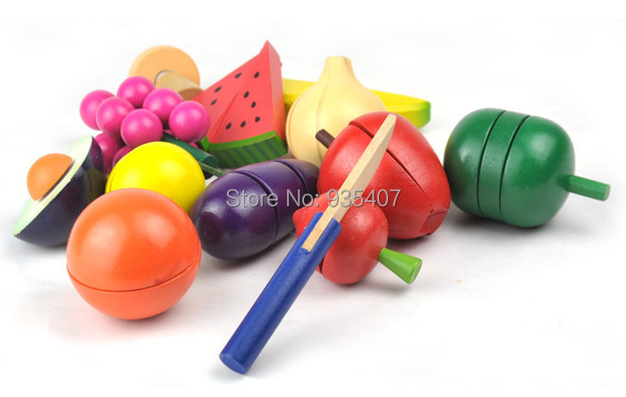 New wooden toy Iron basket of fruit baby toy Free Shipping in Kitchen Toys from Toys Hobbies