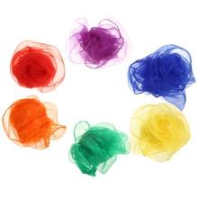 12pcs Juggling Cloths 60cm *60cm Square Magic Tricks Juggling Scarf Soft Silk Fabric Gymnastic Towels Dance Scarves Chiffon недорого