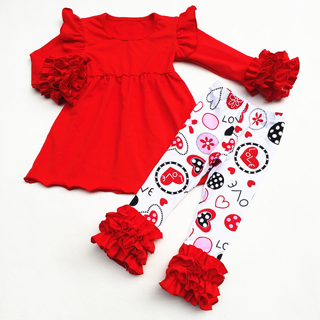 Valentineu0027s Day Baby Girls Spring Outfit Suit Red Solid Ruffle Top Love  Heart Pants Kids Cotton Ruffles Cloth