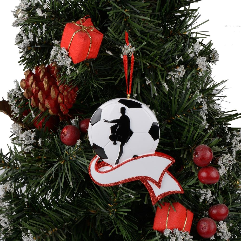 Resin Personalized Soccer Ornament for Christmas Tree Decor Gifts for Team Player Athlete Sports Fan Soccer Amateur in Pendant Drop Ornaments from Home Garden