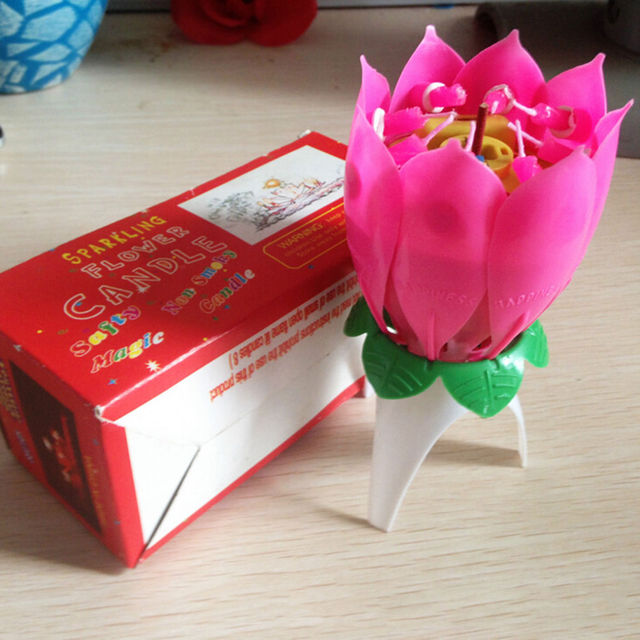 1Pcs Musical Lotus Flower Flame Lights For Happy Birthday Cake Party Gift Rotation Candles Lamp Surprise Decoration