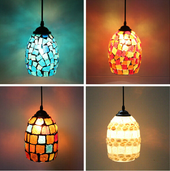 Big Size Bohemian style Mediterranean style Shell Mosaics Glass Retro Colorful Pendant Light браслеты vittorio richi браслеты