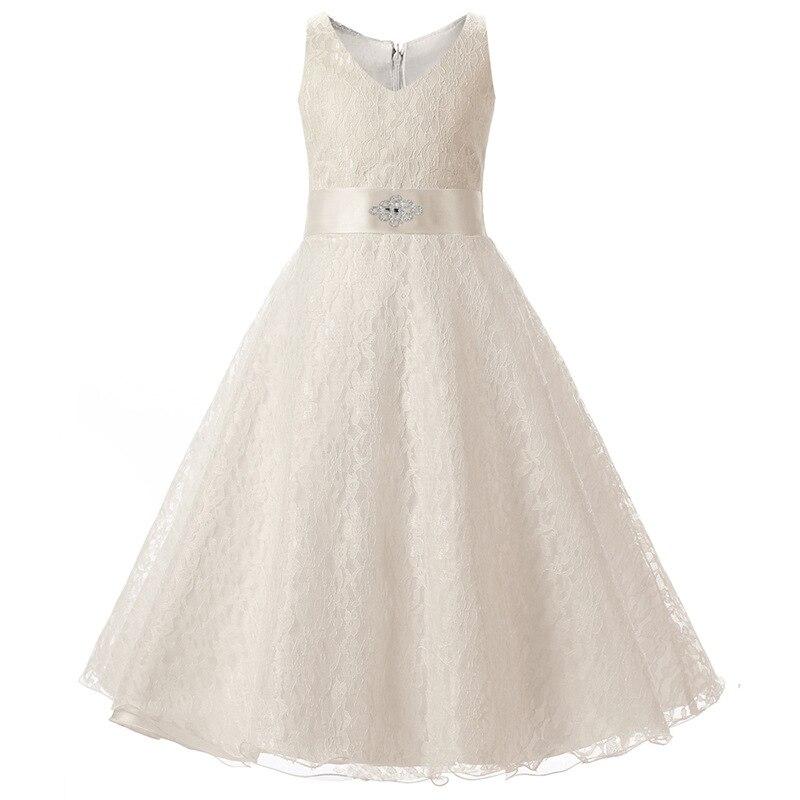 Hotsale Sleeveless Red White Ivory Navy Blue Kids Cocktail Party Frocks for Girls Prom Dresses Children Wedding Dress for Girls