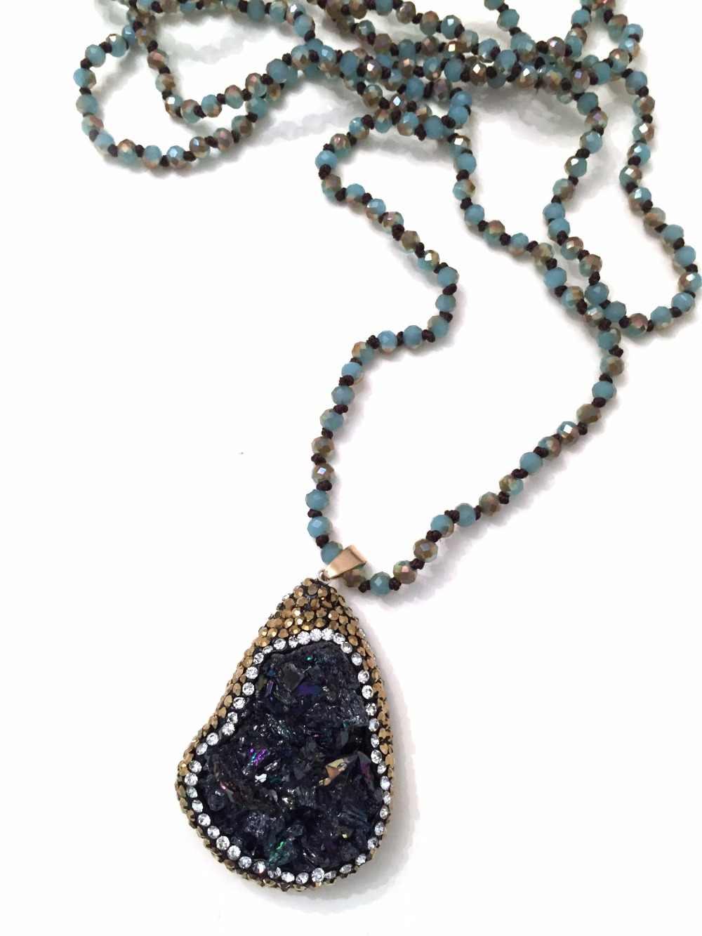 ファッションボヘミアン部族のジュエリー 4 ミリメートルクリスタルガラス結び目 Handmake 舗装天然石ペンダントネックレス